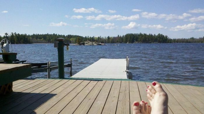 my feet on dock