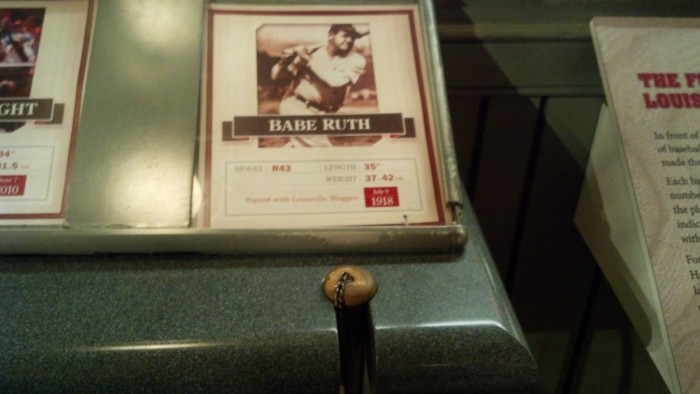 plaque by babe ruth bat