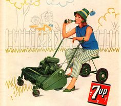 lady on lawn mower
