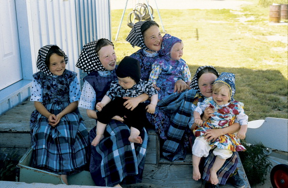 Hutterites near Moose Jaw, Saskatchewan, Canada. (Photo by Independent Picture Service/UIG via Getty Images)