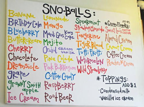 SNOWBALL FLAVORS