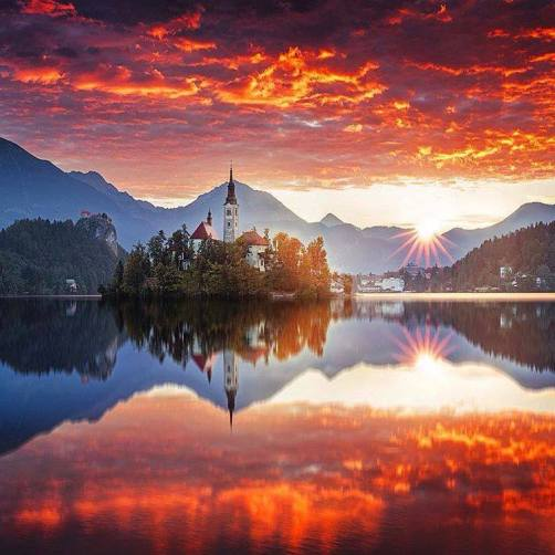Beautiful Sunset in Bled, Slovenia.