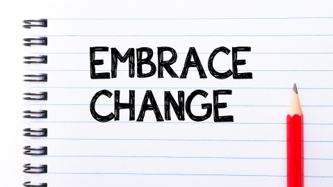 Embrace Change Text written on notebook page, red pencil on the right. Motivational Concept image