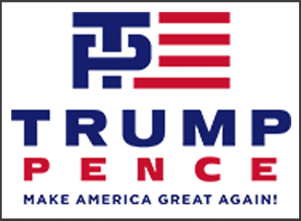 """This image released Friday, July 15, 2016, by the Donald J. Trump for President campaign shows the new campaign logo for presumptive Republican presidential nominee Donald Trump and his running mate Indiana Gov. Mike Pence. It features an interlaced blue """"T"""" and """"P"""" next to red stripes that evoke the American flag. (Donald J. Trump for President via AP)"""