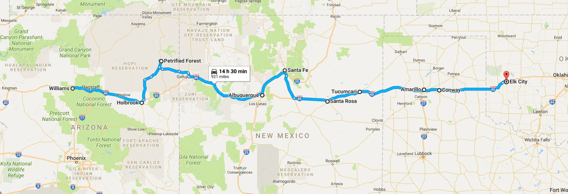 100617 what to see on route 66 from williams arizona to arizona to oklahoma along route 66 click the map to enlarge it sciox Images