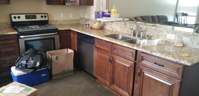 Kitchen all packed up and empty